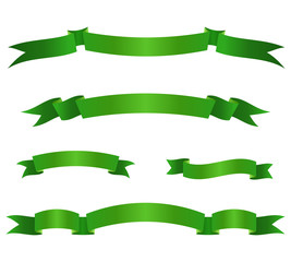 Set of green ribbon banners. Scroll elements. Vector illustration.