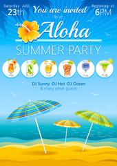 Aloha beach party background with umbrellas and tropical cocktails