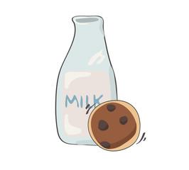 cookie and milk cartoon vector EPS10