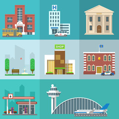 Set of public buildings. City infographics elements. Vector flat design icon collection. Institutions symbols. School, hospital, bank, park, shop, police station, gas station, airport