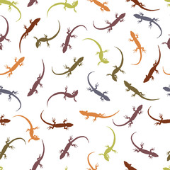 Seamless pattern with lizards. Colorful silhouettes of reptiles
