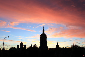 Skyline at sunset in the centre of Moscow, Russia