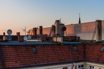 City townhouse roofs, afternoon