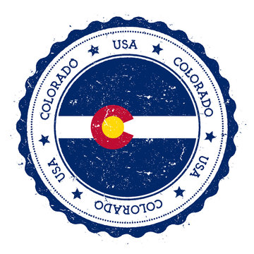 Colorado flag badge. Grunge rubber stamp with Colorado flag. Vintage travel stamp with circular text, stars and USA state flag inside it. Vector illustration.