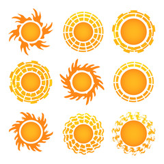 Sun icon set on white background. Vector illustration.