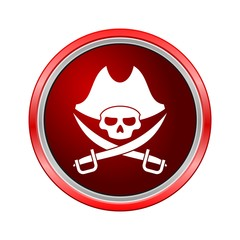 Pirate skull icon, Internet button on white background