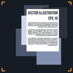 Abstract composition, blue, white pages for text