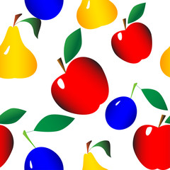 seamless texture of fruit set on a white background
