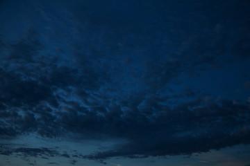 синее облачное небо в закате
