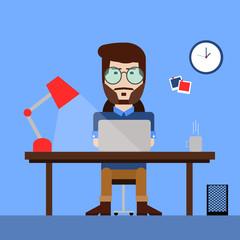 Modern man working on computer. Flat modern illustration of working process.