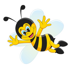 Cute bee character in cartoon style, isolated on white background
