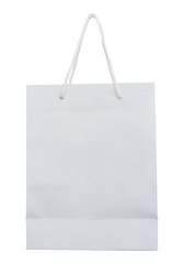 White shopping bag paper isolated, Clipping path