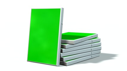 DVD / CD boxes with green screen  isolated on white