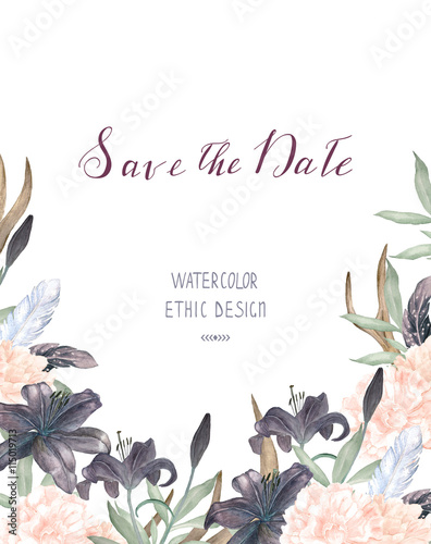 Watercolor floral bridal invitation. Wedding frame template with ...