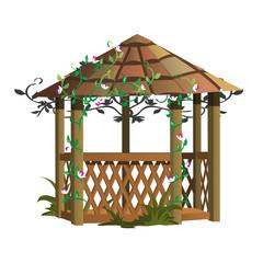 Cozy wooden gazebo with flowers, landscape decor
