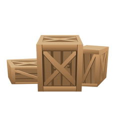 Three large wooden boxes for transportation