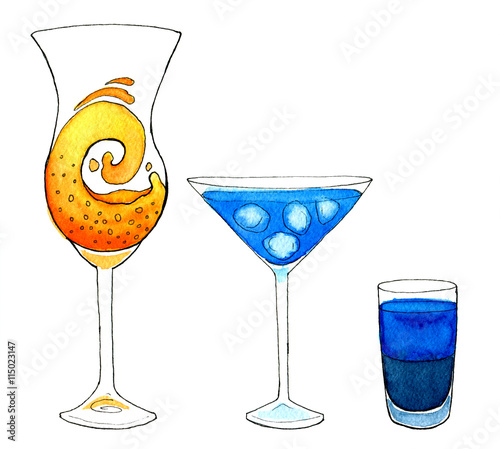Set of 3 fresh and icy cocktails hand drawn watercolor for Orange and blue cocktails