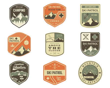 Set of Retro style Ski Club, Patrol Labels. Classic Mountain elements. Winter or summer camping explorer badges. Outdoor adventure logo design. Travel hipster insignia. Adventure patches. Vector.