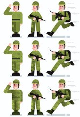 Soldier / Flat design illustration of soldier in 3 poses and 3 color versions.