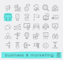 Set of line business and marketing icons. Collection of premium quality icons for advertising and communication. Vector illustration.