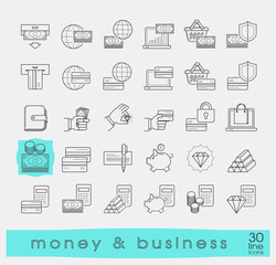 Set of line money and business icons. Collection of premium quality web icons. Vector illustration.