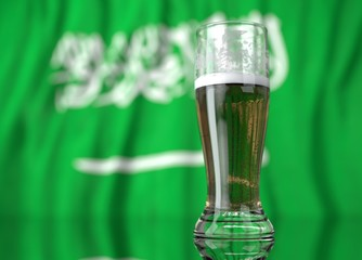 a glass of beer in front a Saudi Arabia flag. 3D illustration rendering.
