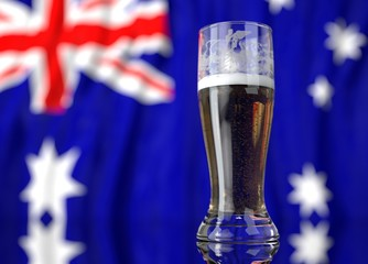 a glass of beer in front a australian flag. 3D illustration rendering.