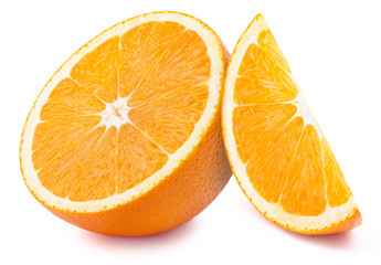 Perfectly retouched half of the orange with slice isolated on white background whith clipping path