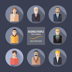 Business people flat avatars vector set.