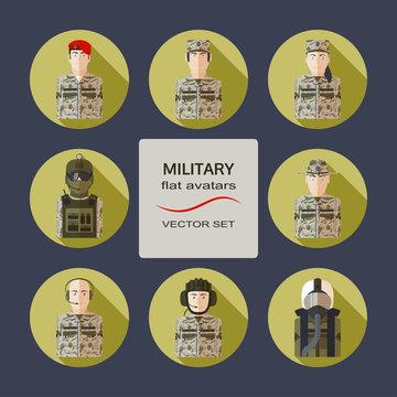 Military flat avatars vector set.
