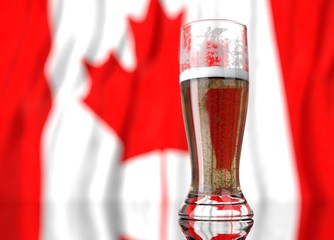 a glass of beer in front a canadian flag. 3D illustration rendering.