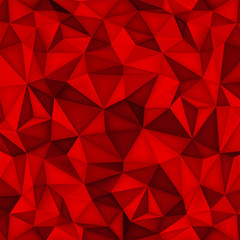 Low polygon shapes background, triangles mosaic, vector design, creative background, templates design, red paper wallpaper