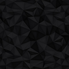 Low polygon shapes background, triangles mosaic, vector design, creative background, templates design, black paper background
