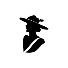 Lady icon. Black icon on white background.