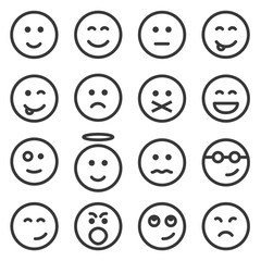 Set of outline emoticons, emoji isolated on white background, vector illustration