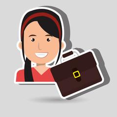 business person with portfolio  isolated icon design, vector illustration  graphic