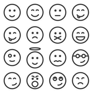 Set of outline emoticons, emoji isolated on white background, vector illustration