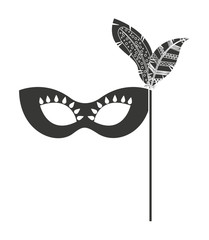 mask with feathers isolated icon design