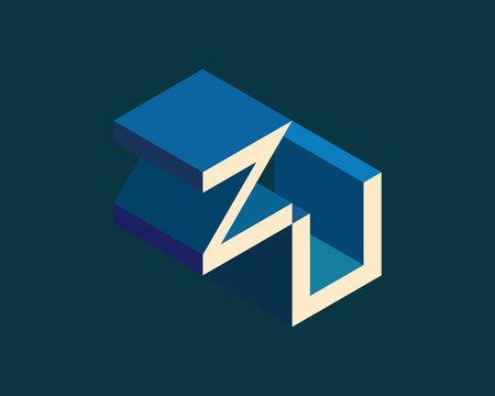 ZU isometric 3D letter logo. three-dimensional stock vector alphabet font typography design.