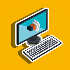 isometric desktop computer with isolated icon design, vector illustration  graphic