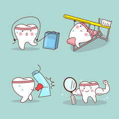 cartoon tooth training himself