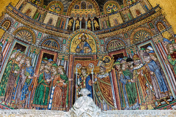 13th-century mosaic of the reception of St. Mark's body into San Marco on the facade of the St Mark's Basilica in Venice, Italy