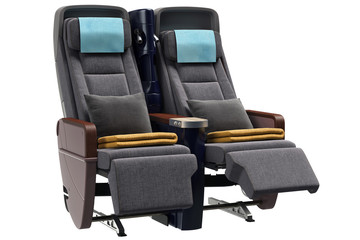 Airplane chairs textiles with gray pillows. 3D graphic