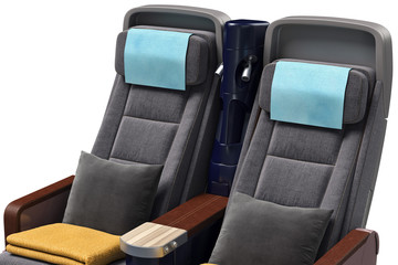 Airplane passenger seat interior in airplane, close view. 3D graphic