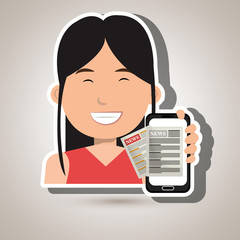 news online with smartphone isolated icon design, vector illustration  graphic