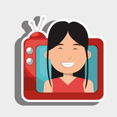 person within TV isolated icon design, vector illustration  graphic