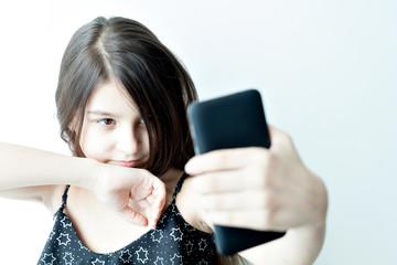 little girl makes selfie