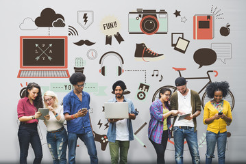 Youth Social Media Technology Lifestyle Concept Wall mural