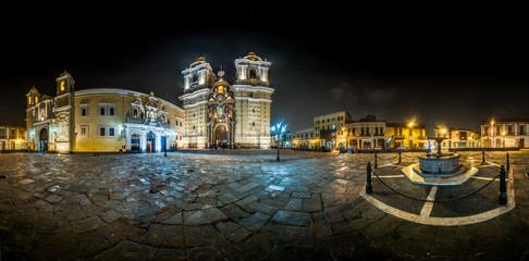 Night view of the San Francisco Church in Lima, Peru.