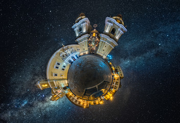 Little planet of San Francisco church of Lima, Peru. and Milky way as background.